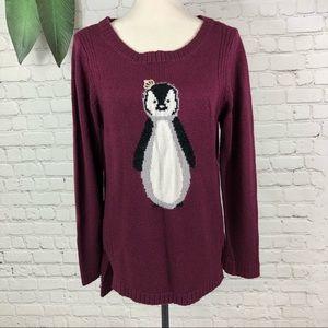 LC LAUREN CONRAD Hi-Low SWEATER knit penguin